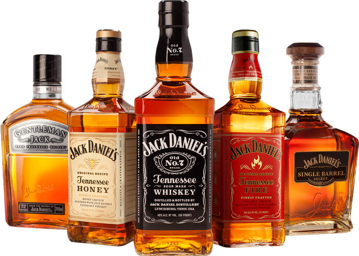 Bottles of Jack Daniel's family of brands.