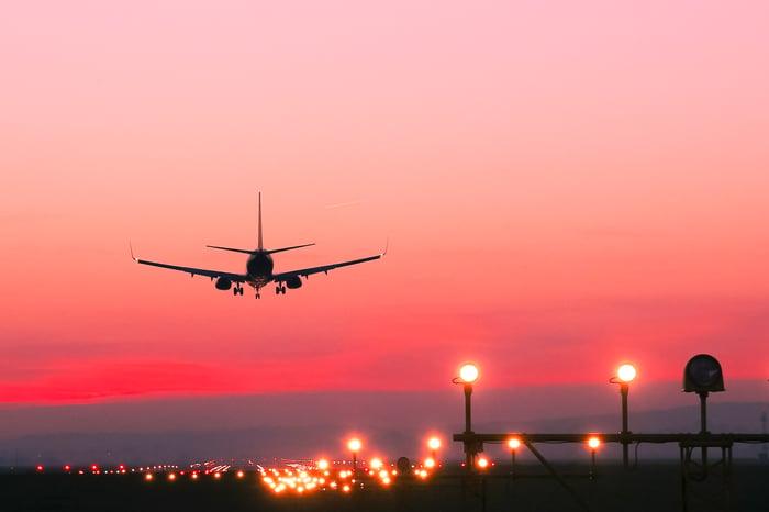 A plane landing at sunset
