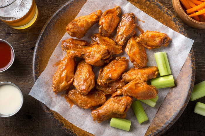 A plate of chicken wings.