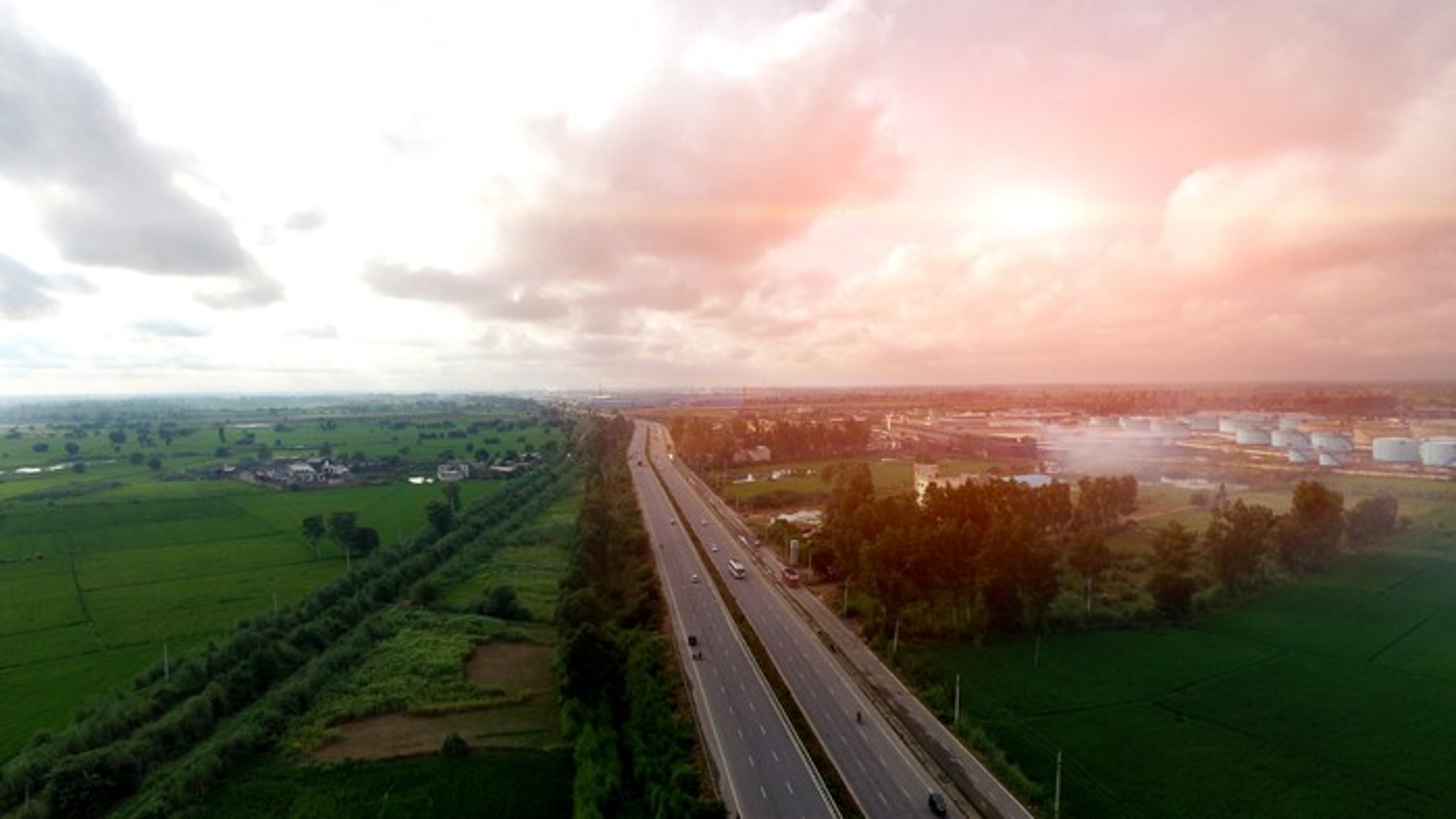 Elevated view of rural highway
