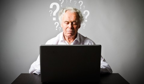 retiree with question marks