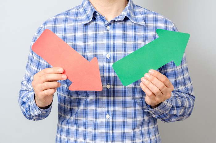 Man in plaid shirt holding a red arrow pointing down and a green arrow pointing up.