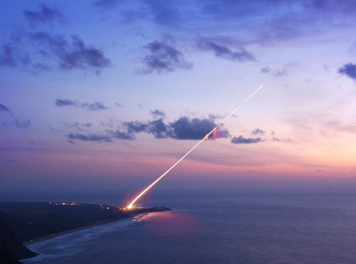 A Lockheed Martin THAAD interceptor is launched over water.
