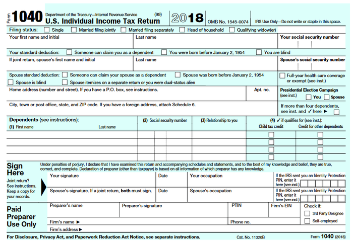 irs 1040 instructions 2020