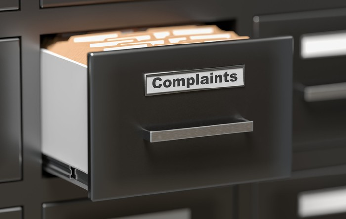Filing cabinet drawer labeled complaints