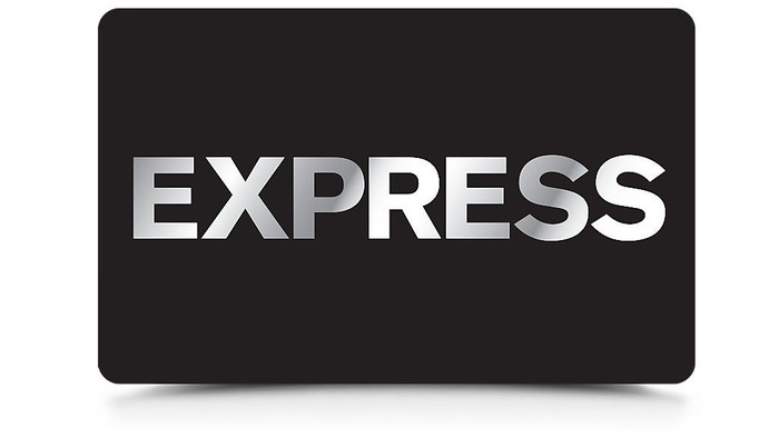 Black card with Express logo on it.