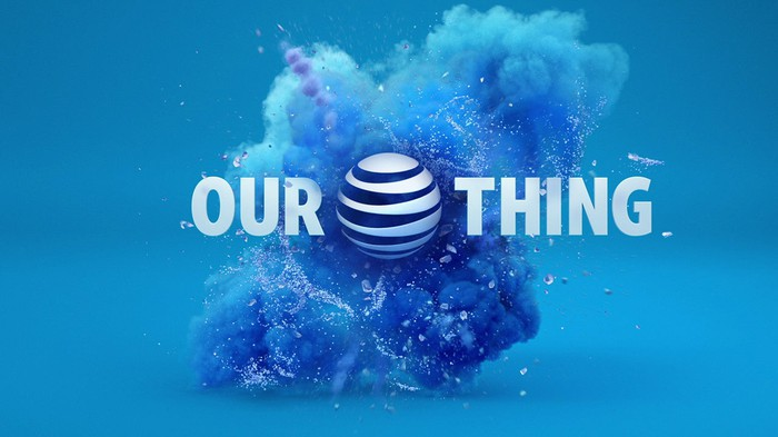 AT&T logo in a blue cloud of dust with OUR THING as text.