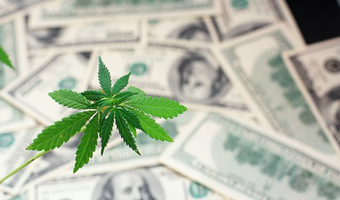 Marijuana leaf with money in background