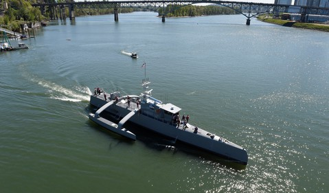 LDOS designed Sea Hunter gets underway following its christening ceremony in Oregon source U.S. Navy photo by John F. Williams