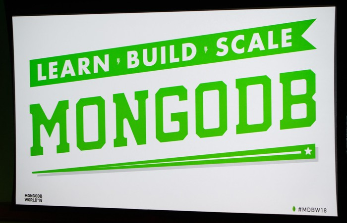 Poster with MongoDB name and logo in green on a white background.