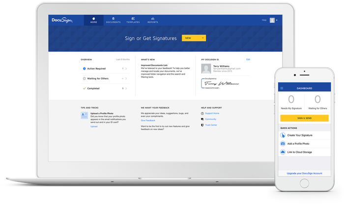 DocuSign's e-signature product on a laptop and smartphone.