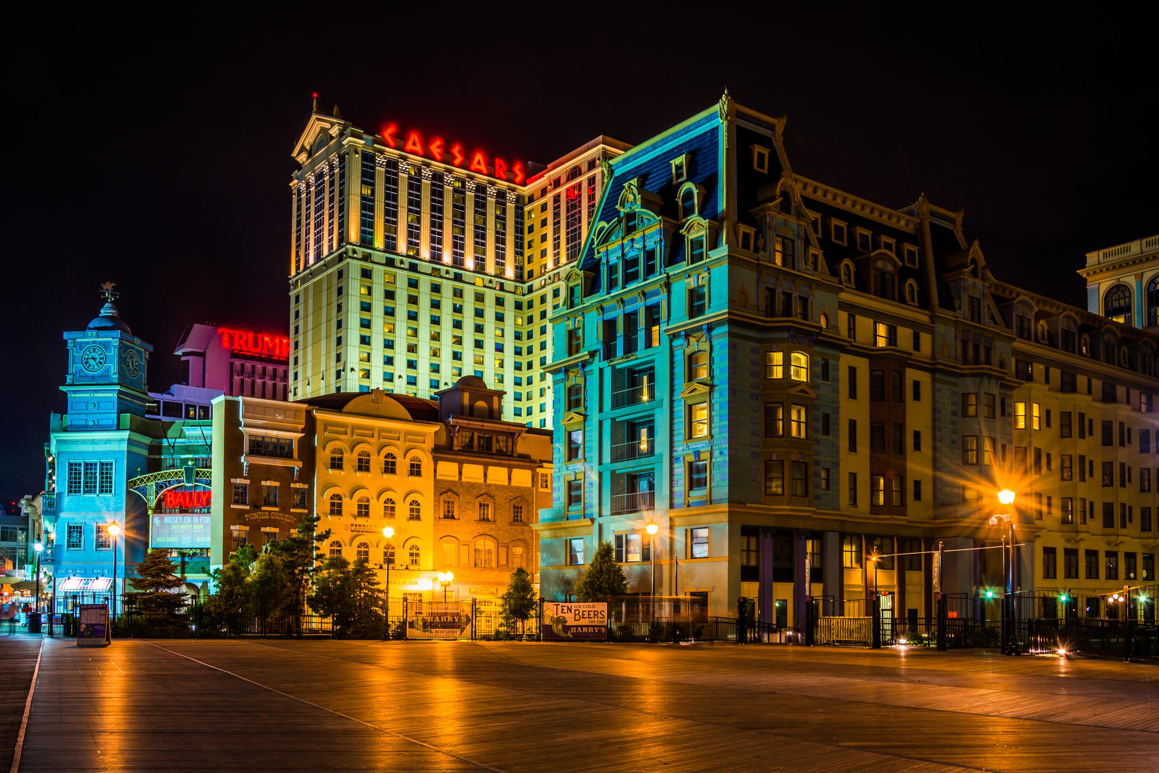 Atlantic City boardwalk at night.