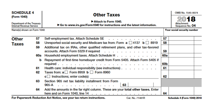 IRS Schedule 4: Do You Owe These 7 Extra Taxes?