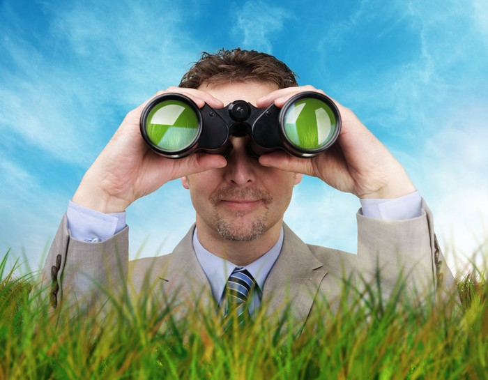 A man's head, shoulders and hands are seen looking through binoculars behind grass.