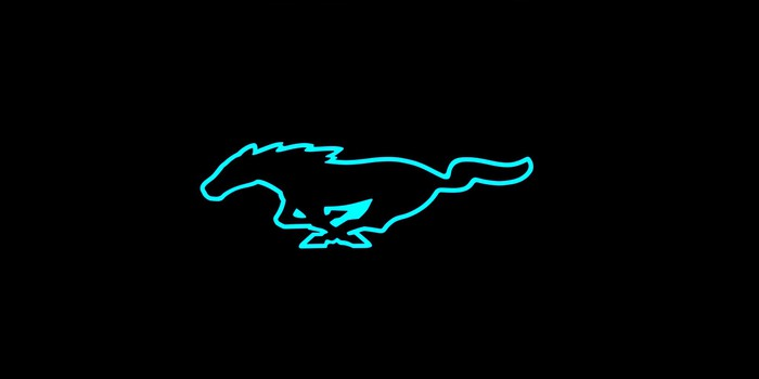 Mustang logo outline in electric blue on a black background.