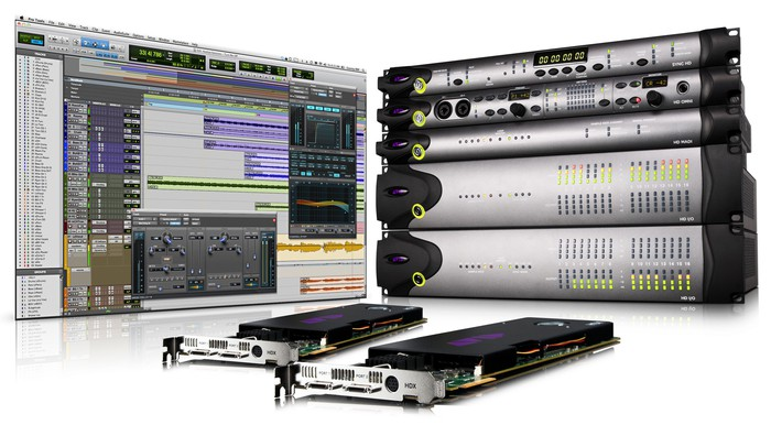 Avid hardware and software next to each other