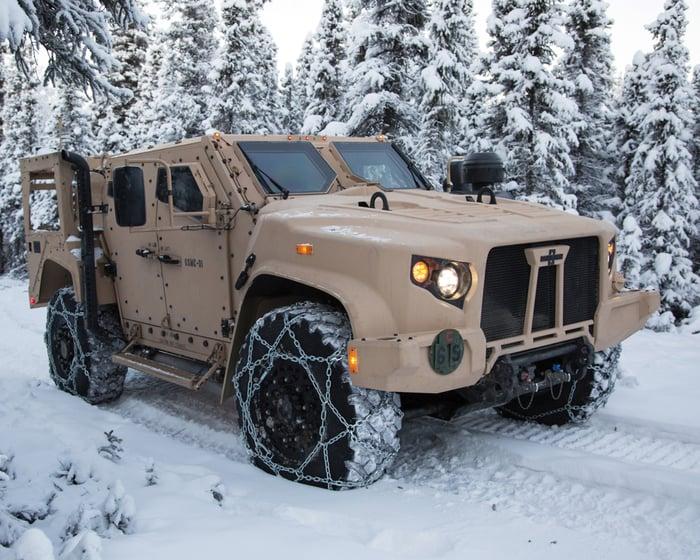 Oshkosh's Joint Light Tactical Vehicle navigates snowy terrain.