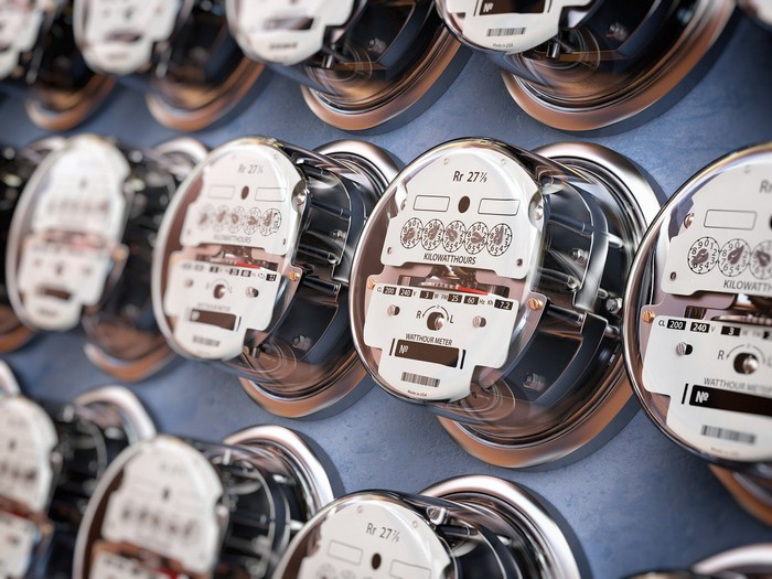 A cluster of electric meters.
