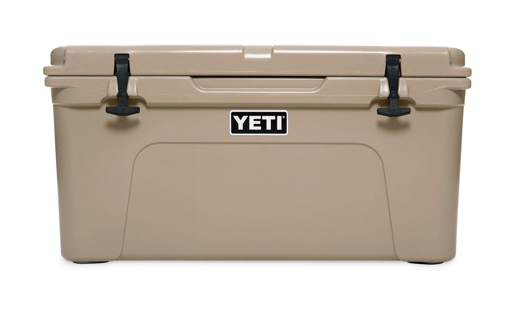 A beige Yeti cooler.