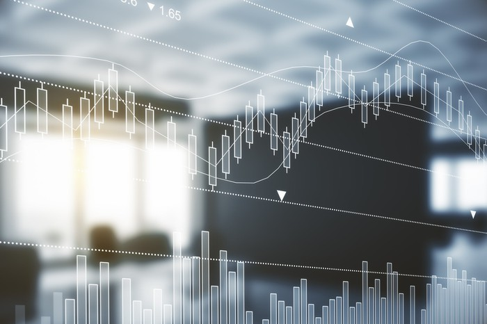 A stock chart on a transparent screen.