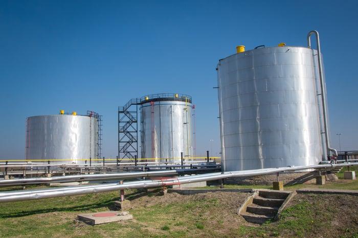Ethanol storage tanks.