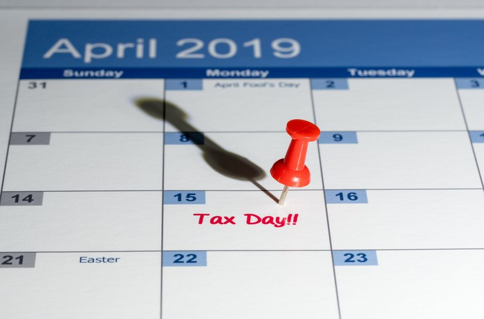 April 2019 calendar with pin on 4/15 and the words tax day written in red