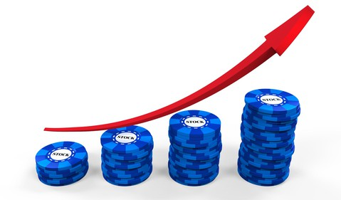 Blue chips with red line chart going up