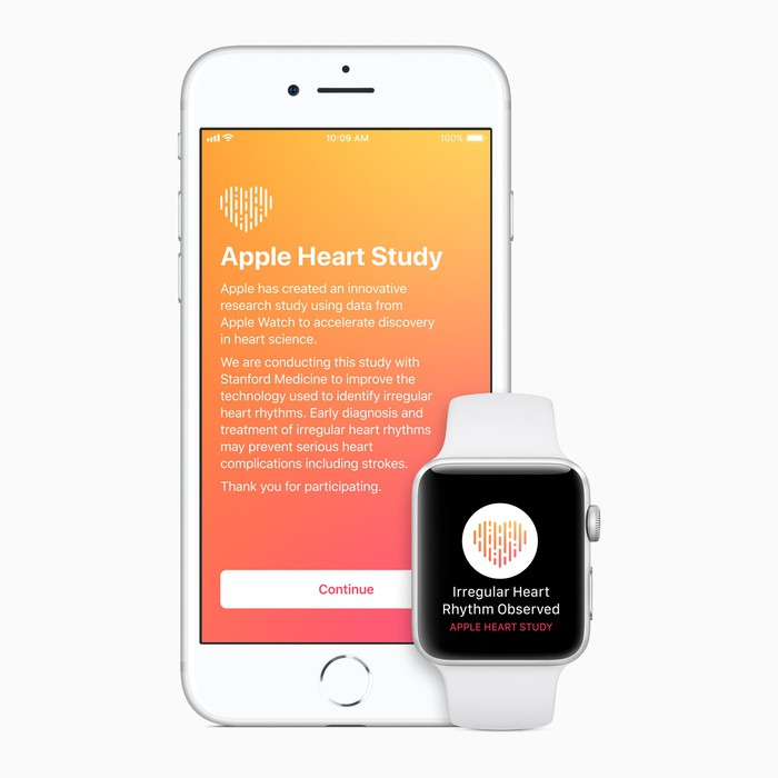 """An iPhone with a description of the Apple Heart Study, and an Apple Watch with a notification reading """"Irregular Heart Rhythm Observed"""""""