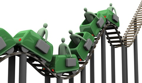 roller coaster with business people