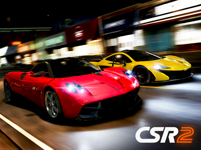 "Two sportscars race as the cover art for Zynga's ""CSR2"" racing game."