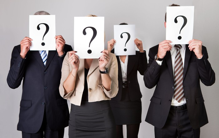 Four business people holding papers with question marks on them in front of their faces