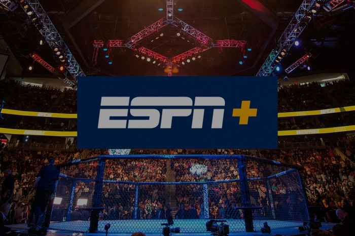 The ESPN+ logo overlaid on an image of a UFC octagon ring.