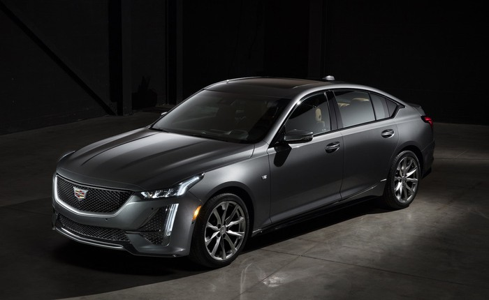 A silver 2020 Cadillac CT5, a midsize four-door luxury sports sedan.