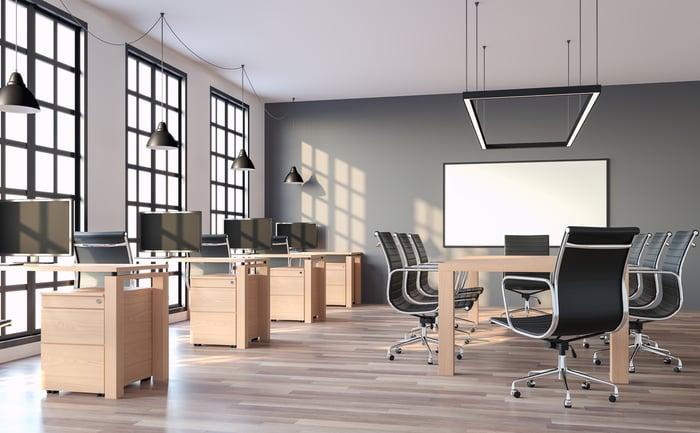 Modern loft-style office.