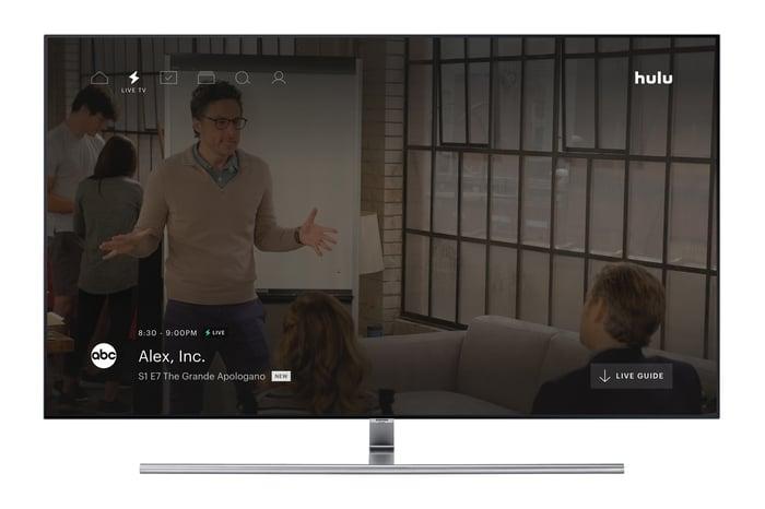Hulu's Live TV service interface shown on a TV