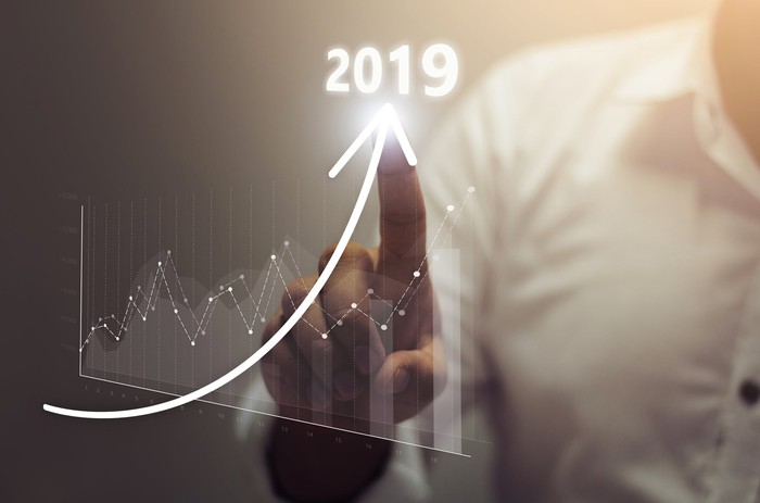 A businessmans finger tracing an upward arrow labeled 2019, with a graph showing uneven but significant growth.
