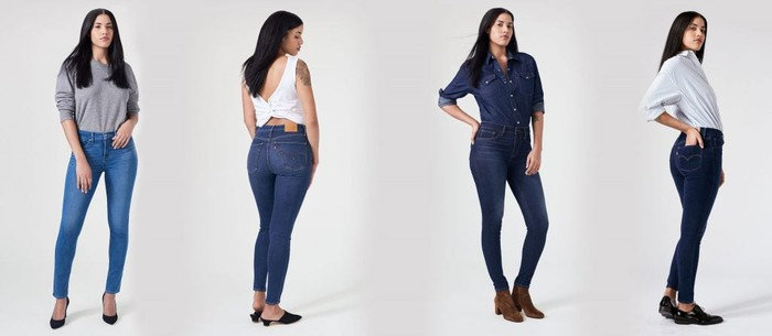 Several women modeling Levi's jeans.