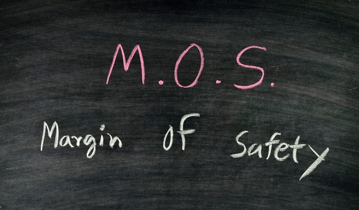 The words margin of safety written on a chalkboard.