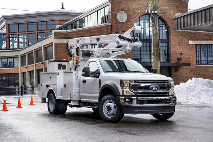 A Ford F-600 Super Duty, configured to work on overhead electrical or telephone lines.