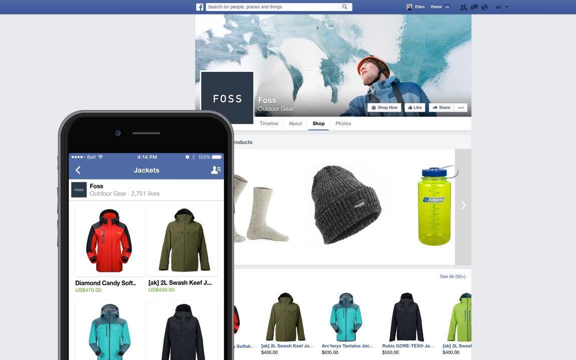 Shopify integration on Facebook on mobile and desktop.