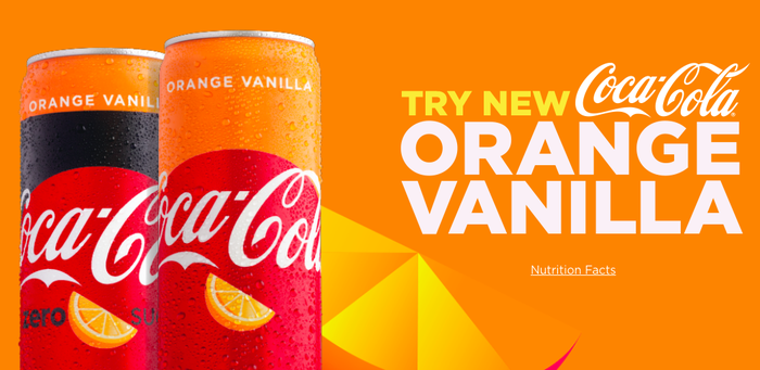 Orange Vanilla Coca-Cola in cans.