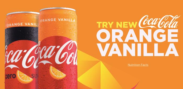 Orange Vanilla Coca-Cola in cans.