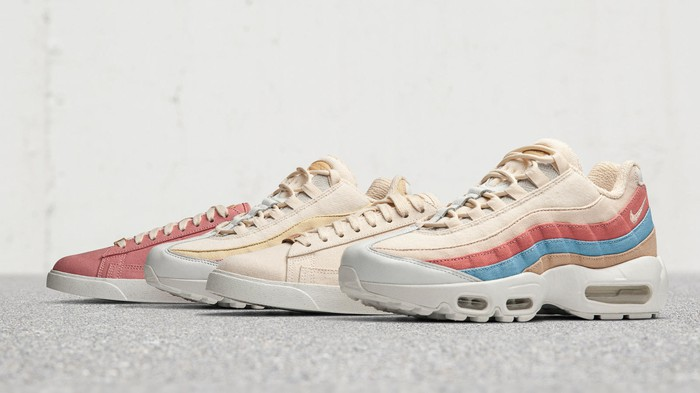 Four Nike Air Max shoes in pastel colors.