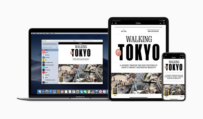 Apple News+ interface displayed on laptop, iPad, and iPhone