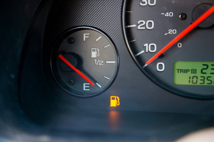 An empty fuel gauge.