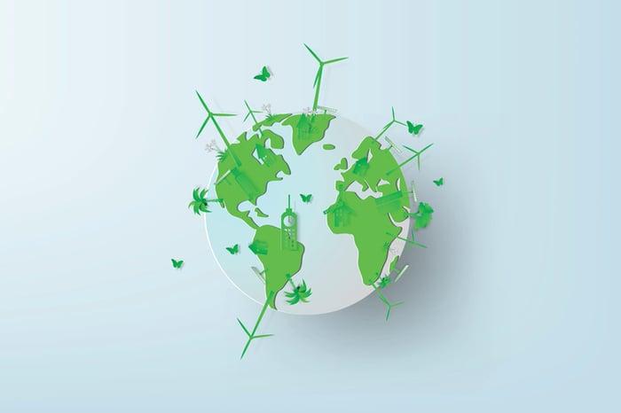 A green globe.
