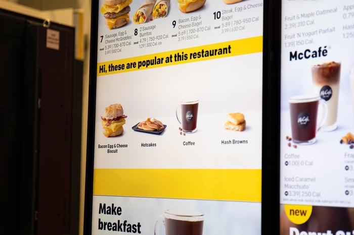 McDonald's digital menu listing popular items
