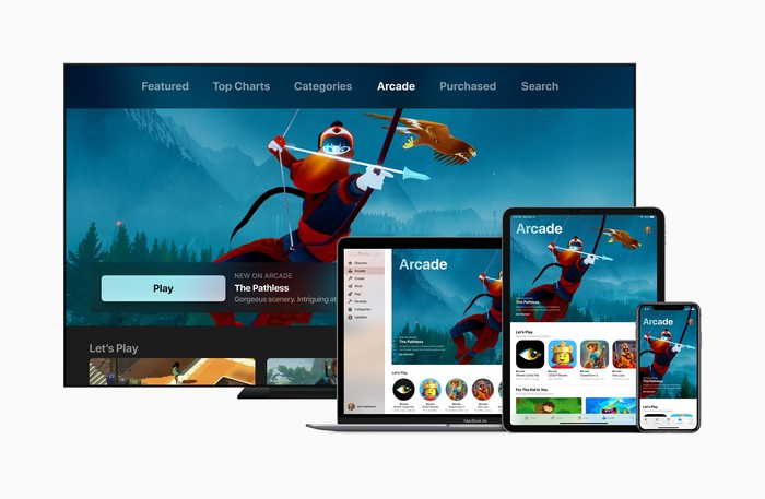An Apple Arcade screen seen on multiple devices.