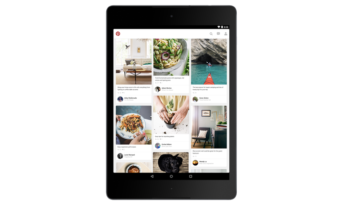 A tablet with Pinterest pins on it.