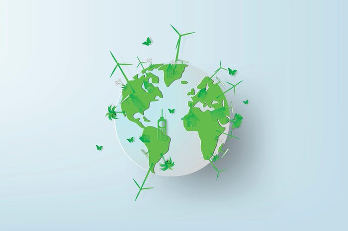 A green globe with wind turbines and butterflies.